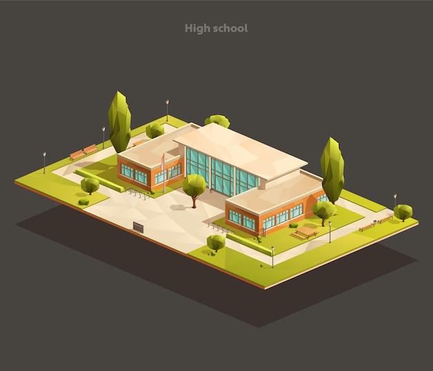 Izometryczny wielokątny budynek szkoły podstawowej