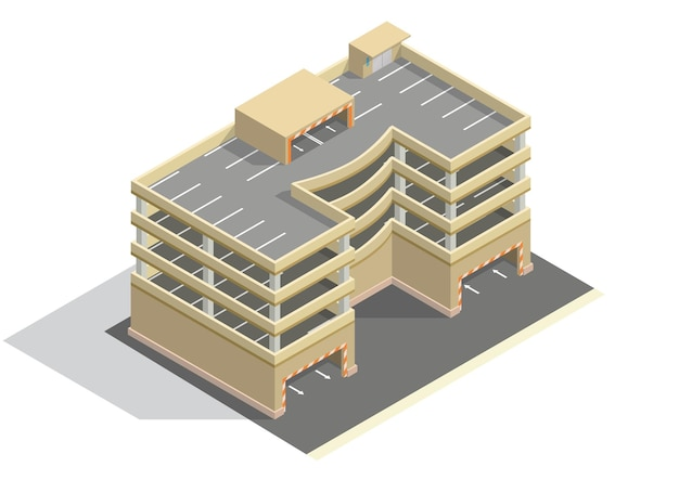 Izometryczny wielopoziomowy parking samochodowy.