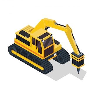 Izometryczny wiertarka pojazd budowlany