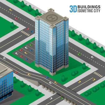 Izometryczny wieżowiec na ilustracji ulicy