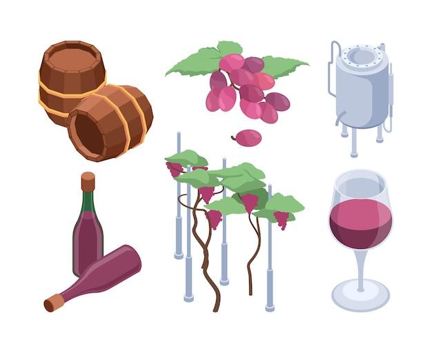 Izometryczny winnicy. technologia winnic przetwarza beczki dla maszyn do rozlewania winogron wektor zestaw. ilustracja prasy winiarskiej, produkcja wina do butelkowania
