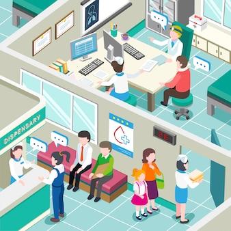Izometryczny wnętrza kliniki medycznej