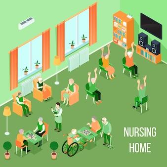 Izometryczny wnętrze domu opieki
