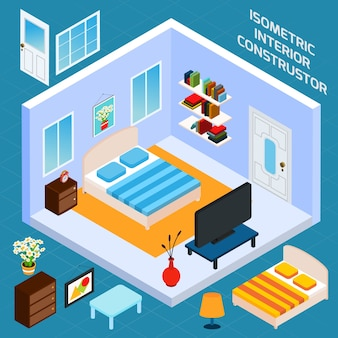 Izometryczny wnętrze sypialni