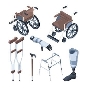 Izometryczny wózek inwalidzki i inne różne przedmioty dla osób niepełnosprawnych