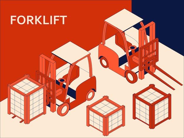 Izometryczny wózek widłowy do podnoszenia i transportu towarów. transport roboczy