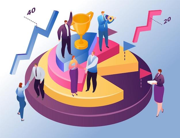 Izometryczny wykres biznesowy, ilustracji wektorowych. mały mężczyzna kobieta znak stoisko na okrągłym wykresie z trofeum, raport schemat finansów. szef promuje zespół pracowników do wzrostu sukcesu biznesowego, analizy graficznej.