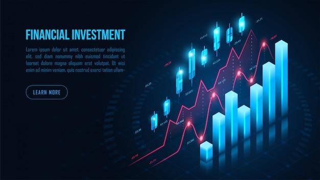 Izometryczny wykres handlu akcjami lub walutami