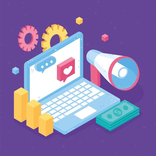 Izometryczny wykres pieniędzy marketingu cyfrowego