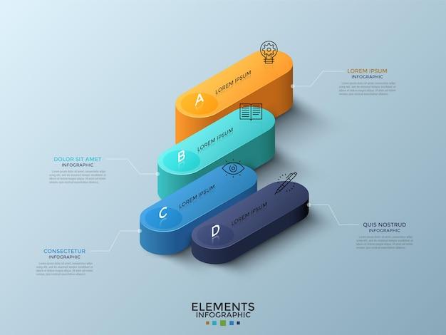 Izometryczny wykres porównawczy z 4 kolorowymi zaokrąglonymi elementami lub kolumnami, ikonami cienkich linii i polami tekstowymi. koncepcja czterech poziomów rozwoju biznesu. plansza projekt układu. ilustracja wektorowa.