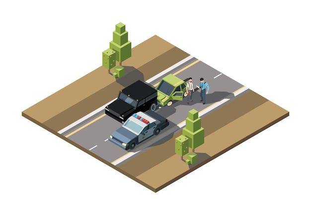 Izometryczny wypadek drogowy. samochód uszkodzony awaryjne pomoc w wypadkach drogowych rannych awarii pojazdów transportu miejskiego wektor 3d tła. pojazd zderzeniowy izometryczny, wypadek transportowy