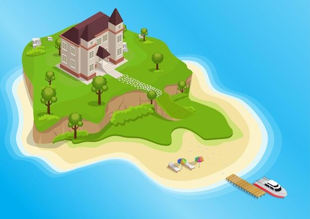 Izometryczny wyspy turystycznej z drzewami i domem z jachtem na morzu.