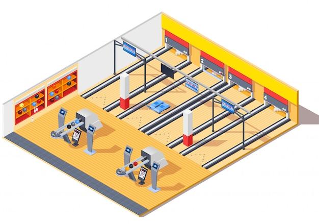 Izometryczny wystrój wnętrz bowling club