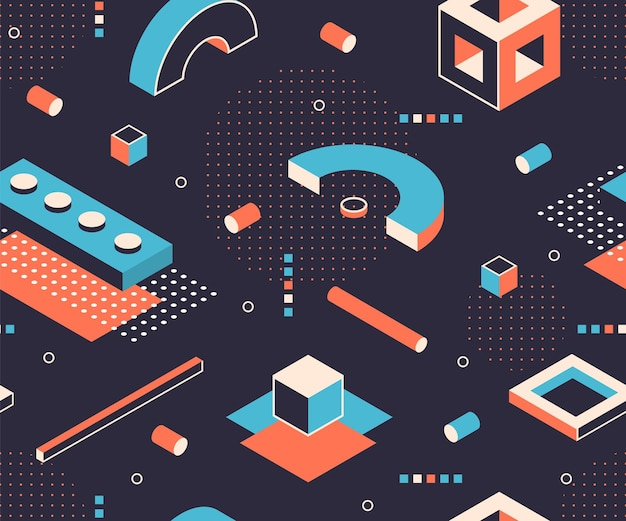 Izometryczny wzór kształtów. geometryczne minimalne tło, abstrakcyjne elementy graficzne konstrukcji. wektor 3d izometryczny bez szwu postacie plakatowe z abstrakcyjnymi kształtami geometrycznymi sześcian kwadratowy trójkąt