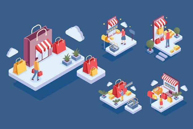 Izometryczny wzór z ludźmi robiącymi zakupy online w stylu postaci z kreskówki, płaska ilustracja