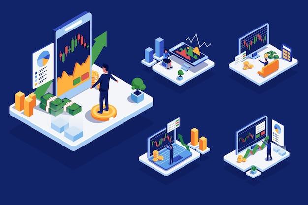 Izometryczny wzór z ludźmi używającymi komunikacji wysokiej technologii lub komputera z finansami, w postaci z kreskówki, płaskiej ilustracji