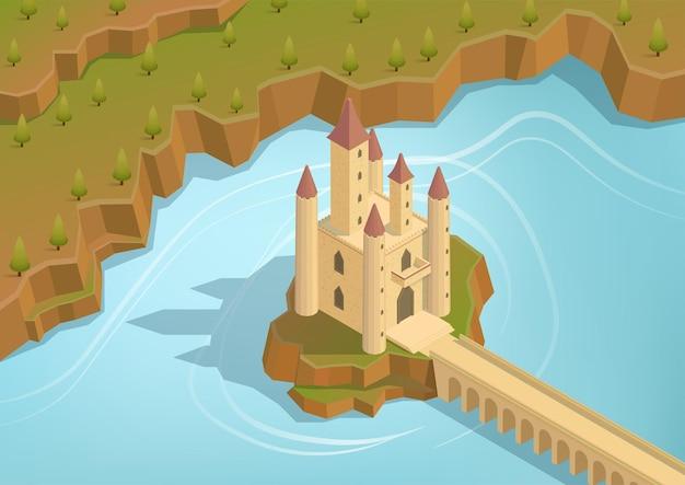Izometryczny zamek na wyspie pośrodku jeziora z długim mostem