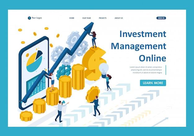 Izometryczny zarządzanie inwestycjami online, inwestorzy analizują rynek