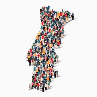Izometryczny zbiór ludzi tworzących mapę portugalii