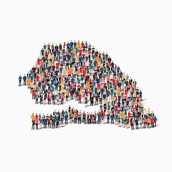 Izometryczny zbiór ludzi tworzących mapę senegalu