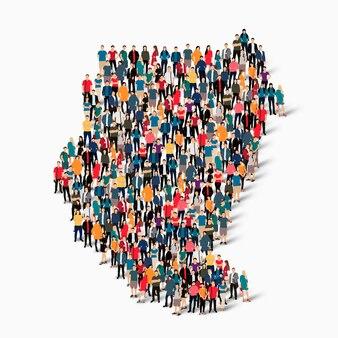 Izometryczny zbiór ludzi tworzących mapę sudanu