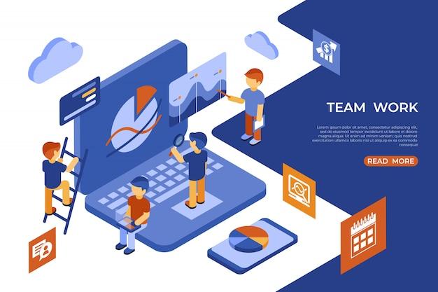 Izometryczny zespół pracy ludzi biznesu infografiki