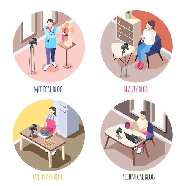 Izometryczny zestaw 4x1 z blogerami nagrywającymi filmy o medycynie kosmetyki technologia gotowania 3d na białym tle