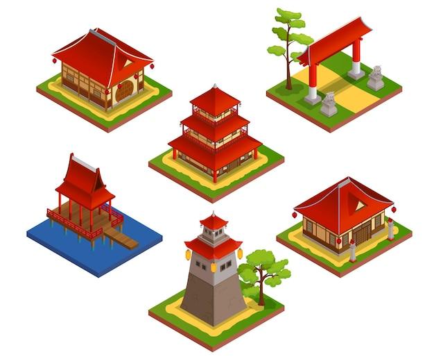Izometryczny zestaw azjatyckich budynków z domem i mostem na białym tle