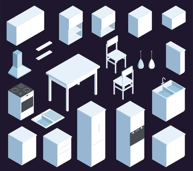 Izometryczny zestaw białych mebli kuchennych z ilustracją szafki stołowej