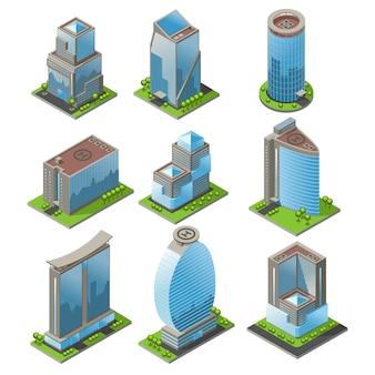 Izometryczny zestaw budynków biurowych miejskich