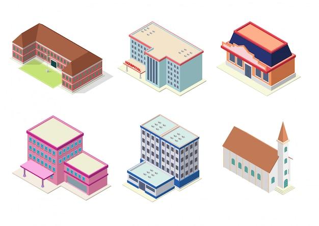 Izometryczny zestaw budynków hotelu, szkoły, kościoła, mieszkania lub centrum handlowego