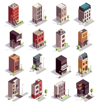 Izometryczny zestaw budynków kamienicy z szesnastu na białym tle kolorowych budynków z wieloma kondygnacjami i nowoczesnym designem