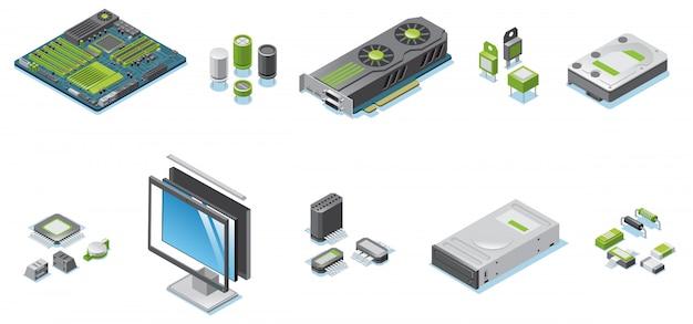 Izometryczny zestaw części sprzętu komputerowego z komponentami elektronicznymi i szczegółami monitora i jednostki systemowej
