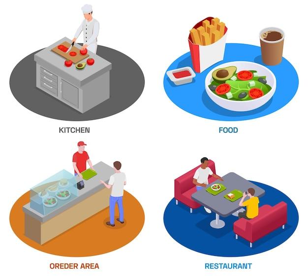 Izometryczny zestaw czterech okrągłych kompozycji reprezentujących różne kawiarnie z ludźmi i posiłkami