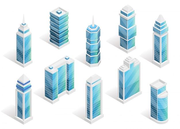 Izometryczny zestaw domów miejskich