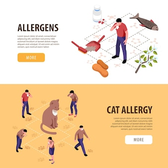Izometryczny zestaw dwóch poziomych banerów z osobami z alergią na koty i innymi alergenami 3d na białym tle