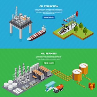 Izometryczny zestaw dwóch poziomych banerów ze sprzętem do rafinacji i wydobycia przemysłu naftowego