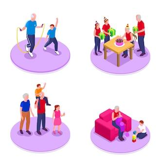 Izometryczny zestaw dziadków i wnuków z symbolami komunikacji i aktywności na białym tle ilustracji