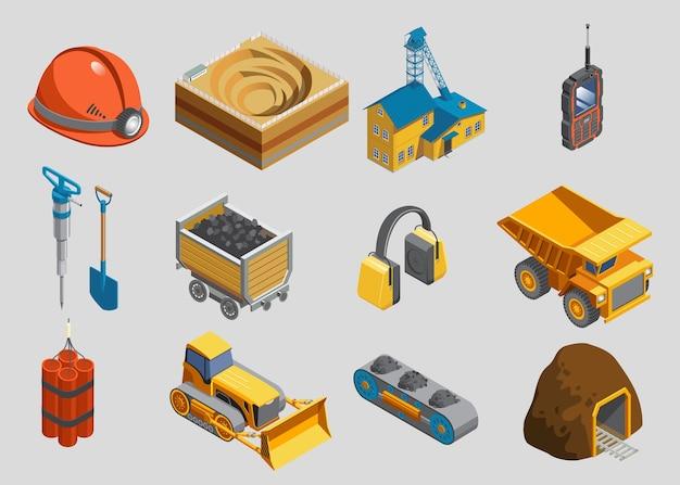 Izometryczny zestaw elementów górniczych