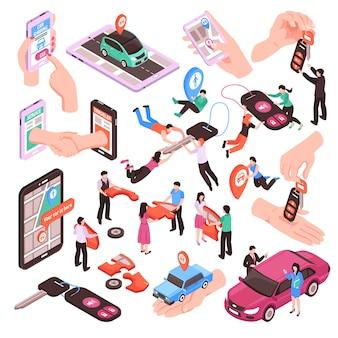 Izometryczny zestaw elementów usługi współdzielenia samochodu