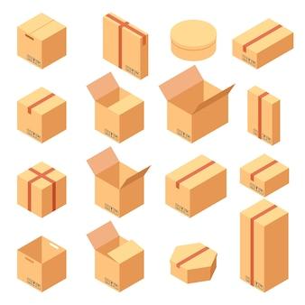 Izometryczny zestaw fajnych papierowych pudełek w różnych wariantach