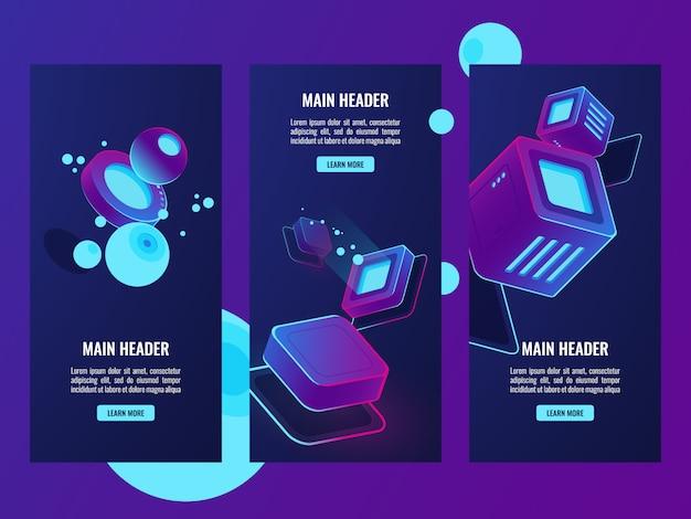 Izometryczny zestaw futurystyczny banery, koncepcja danych cyfrowych, hosting serwerowni
