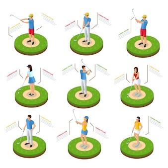Izometryczny zestaw golfistów z kijami stojącymi na trawniku w różnych pozach na białym tle