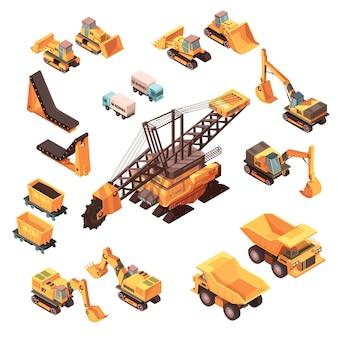 Izometryczny zestaw górniczy pojedynczych obrazów maszyn
