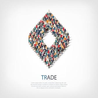 Izometryczny zestaw handlu, koncepcja infografiki internetowej zatłoczonego placu