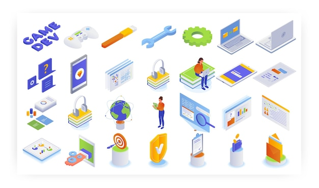 Izometryczny zestaw ikon gier mobilnych i komputerowych, płaski wektor ilustracja na białym tle. koncepcja rozwoju gier wideo.