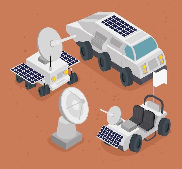 Izometryczny zestaw ikon stacji kosmicznej