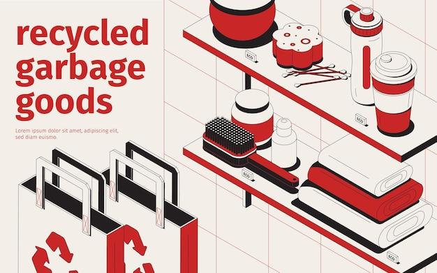 Izometryczny zestaw ilustracji wektorowych z recyklingu śmieci