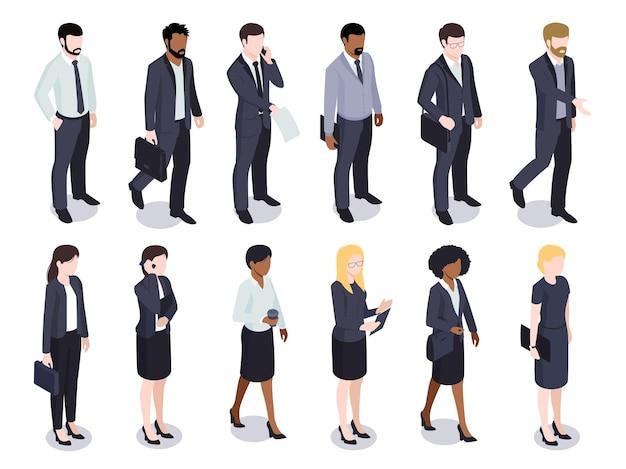 Izometryczny zestaw izolowanych biznesmenów przedsiębiorców płci męskiej i żeńskiej postaci bez twarzy noszących kostiumy na białym tle