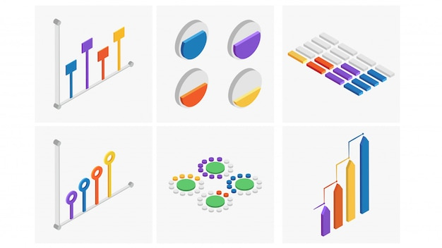 Izometryczny zestaw kolorowy element infografiki.